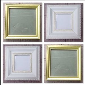 Two 6'' x 6'' Photo Frames, Gold, and White